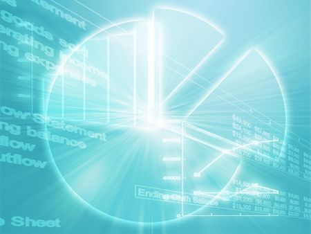 commissions: Illustration of Spreadsheet data and business charts in glowing wireframe style Stock Photo