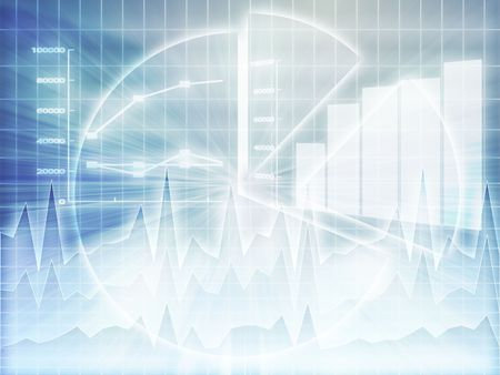 Illustration of Spreadsheet data and business charts in glowing wireframe style Stock Photo