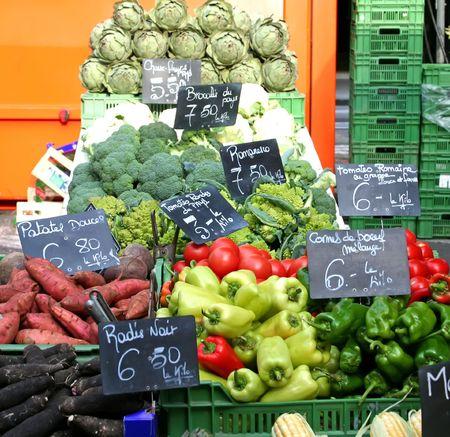 Vegetables on display in outdoor farmers market in Switzerland photo