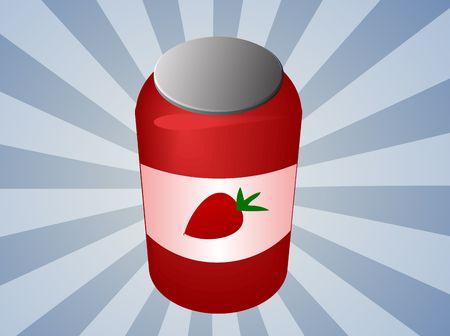 preservative: Jar of strawberry jam with label  illustration