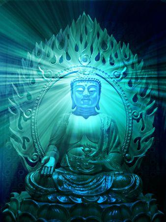 Buddha religious illustration with glowing light halo Stock Illustration - 3656054
