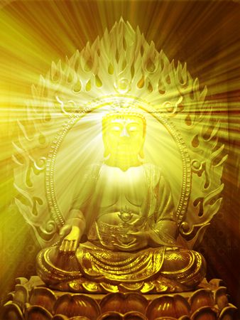 Buddha religious illustration with glowing light halo illustration