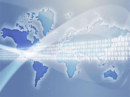 Digital data transfer, over world map illustration Stock Illustration - 3655893