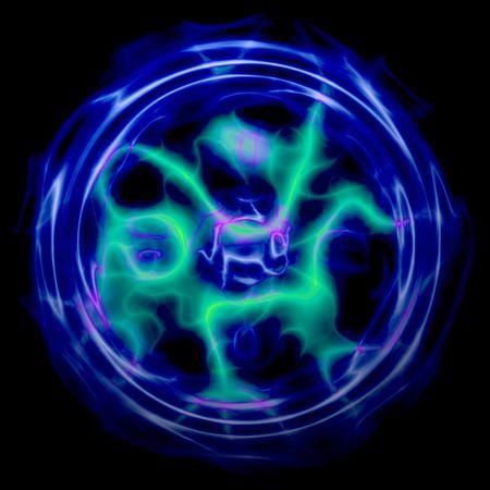Plasma ball sphere of glowing lightning energy photo