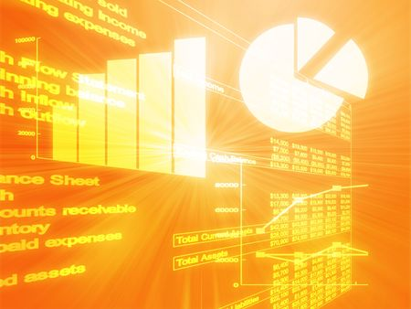 Illustration of Spreadsheet data and business charts in glowing wireframe style Stock Illustration - 3655901
