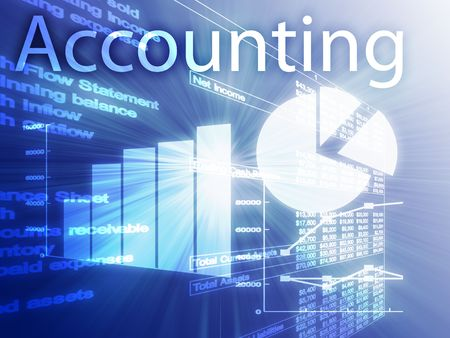 Accounting illustration of Spreadsheet and business financial charts illustration