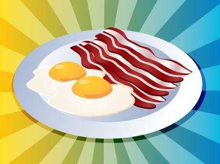 Bacon and eggs breakfast on plate  illustration Stock Illustration - 3666157