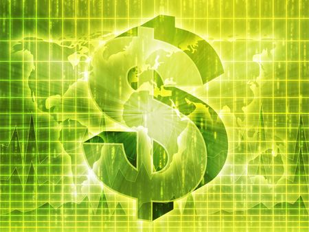 greenbacks: US Dollar symbol over world map