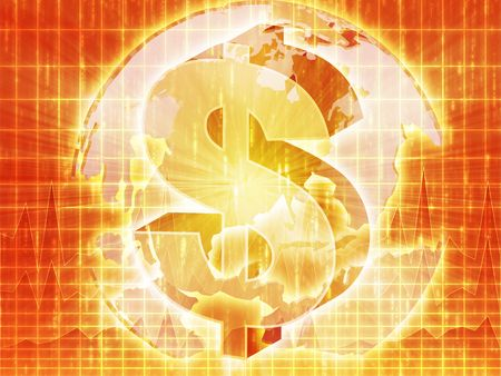 americas: US Dollar symbol over globe of americas