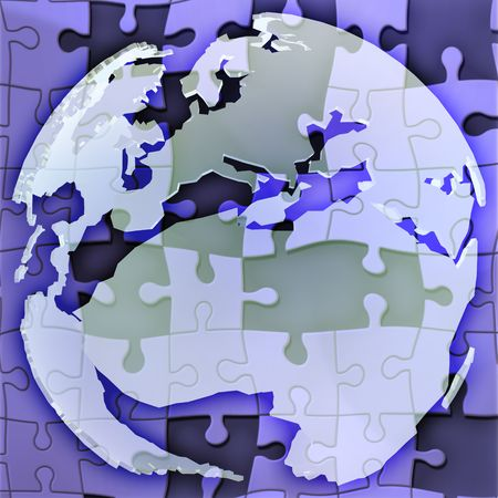 Map of the Europe and africa globe with jigsaw photo