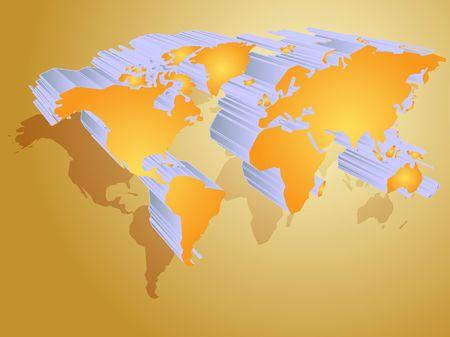 Map of the world illustration, 3d effect Stock Illustration - 3666419