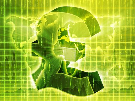pounds: British pounds currency symbol over world ma Stock Photo