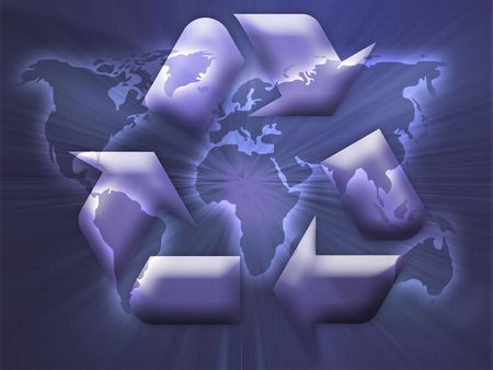 sustain: Recycling eco symbol illustration over world map