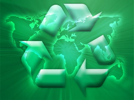 Recycling eco symbol illustration over world map illustration