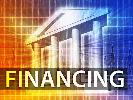 financing: Financing illustration, financial diagram with bank building
