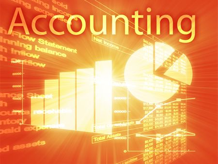 earnings: Accounting illustration of Spreadsheet and business financial charts Stock Photo