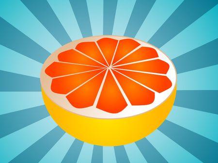 juicy: Sliced half pink grapefruit fresh fruit illustration fresh