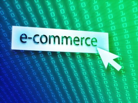 clicking: E-commerce button with clicking mouse icon, digital background Stock Photo