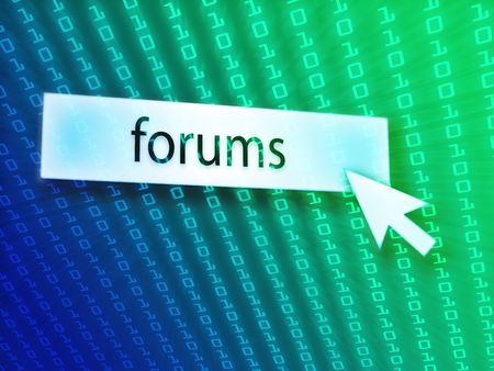 clicking: Forum button with clicking mouse icon, digital background