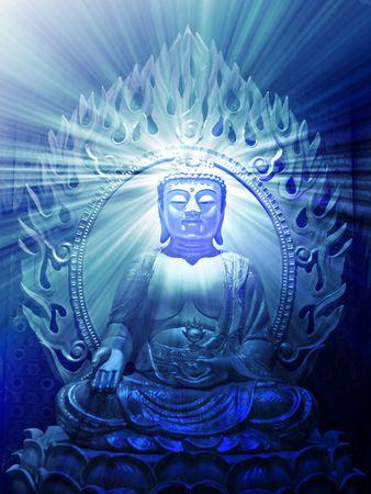 Buddha religious illustration with glowing light halo Stock Illustration - 3692585