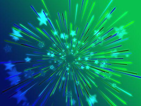 Central bursting explosion of dynamic flying stars, abstract illustration Stock Illustration - 3692581