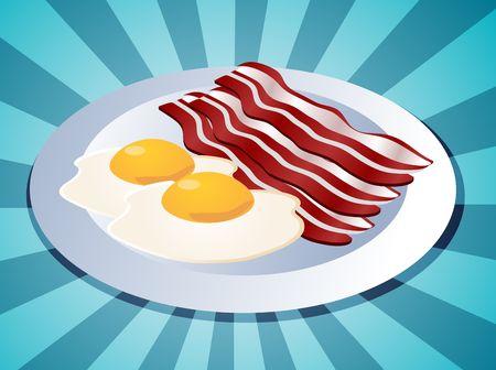 Bacon and eggs breakfast on plate  illustration Stock Illustration - 3692465
