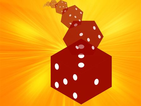 chances are: Illustration of translucent rolling red dice showing gambling
