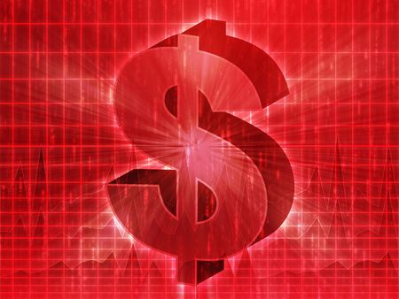 greenback: US Dollar symbol over financial chart diagram