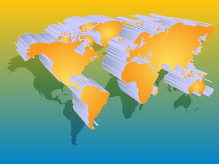 Map of the world illustration, 3d effect Stock Illustration - 3692472