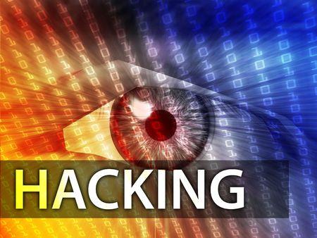 hacking: Hacking illustration, eye over digital data information