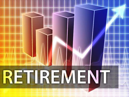 earnings: Retirement finances illustration of bar chart diagram