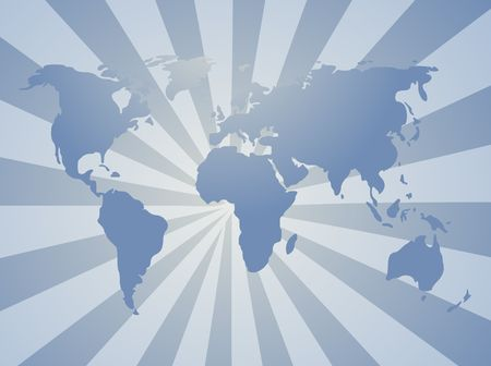 Map of the world illustration, with radial background Stock Illustration - 3692379