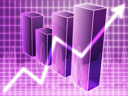 Barchart and upwards line graph financial diagram