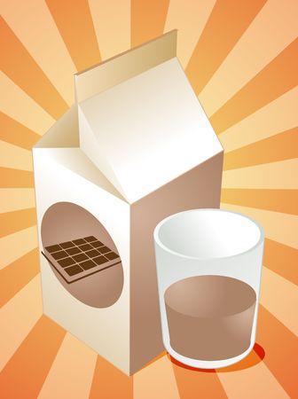 carton de leche: Chocolate con leche de cart�n llena de vidrio ilustraci�n