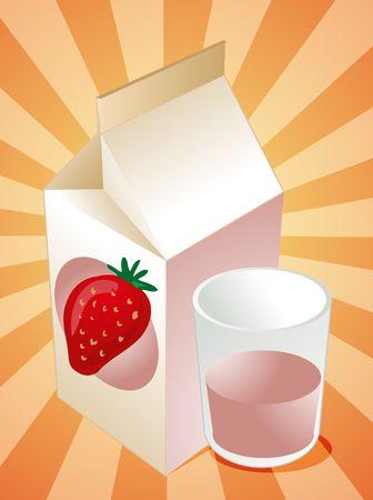 milk carton: Strawberry milk carton with filled glass illustration