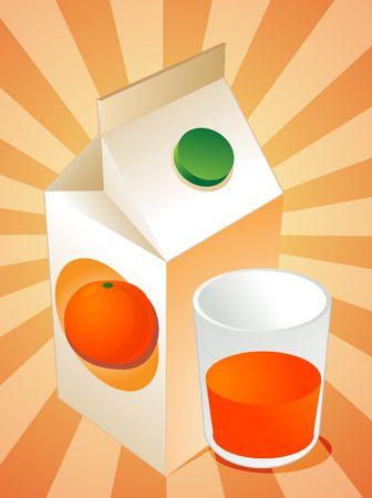 oj: Orange juice carton with filled glass illustration