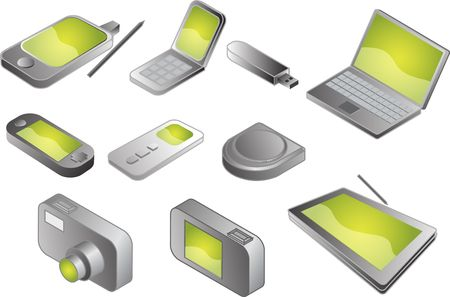 Illustration of various electronic gadgets in isometric format Stock Illustration - 3710317