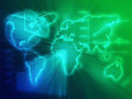 international sales: Illustration of Spreadsheet data and business charts in glowing wireframe style Stock Photo