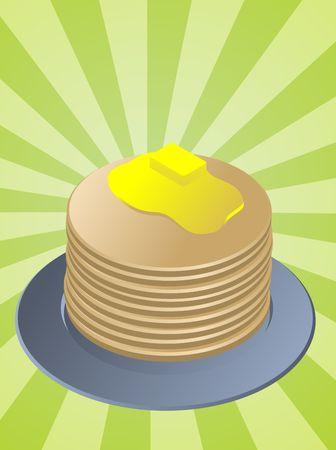 Stack of pancakes, breakfast fllapjacks on blue plate Stock Photo - 3725318