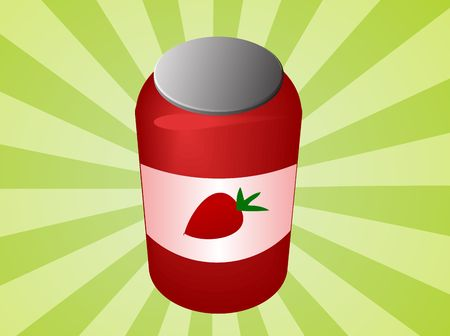 Jar of strawberry jam with label  illustration illustration