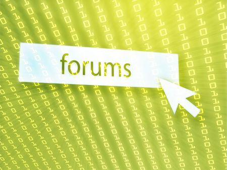 Forum button with clicking mouse icon, digital background photo