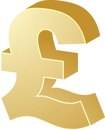 british currency: British UK Pounds Currency symbol isometric illustration