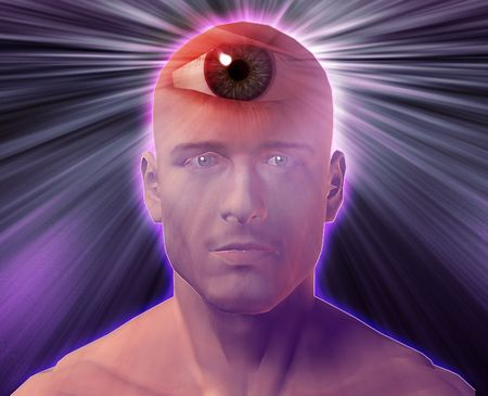 Man with third eye, psychic supernatural senses Stock Photo - 3725419