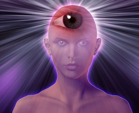 Woman with third eye, psychic supernatural senses photo