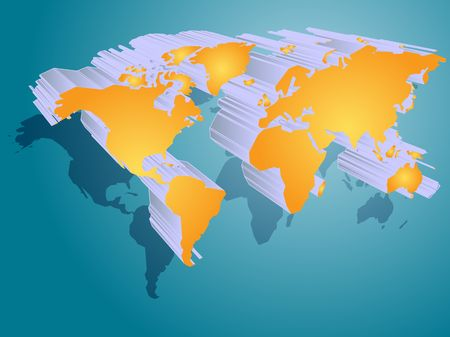 Map of the world illustration, 3d effect Stock Illustration - 3725385
