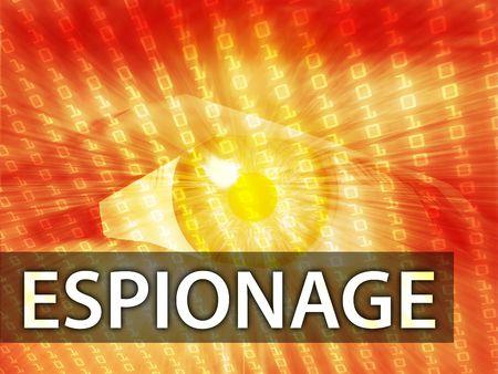espionage: Espionage illustration, eye over digital data information Stock Photo