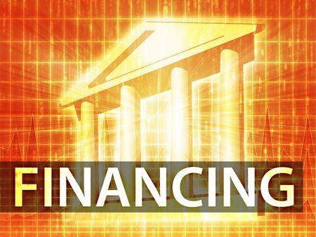 Financing illustration, financial diagram with bank building illustration