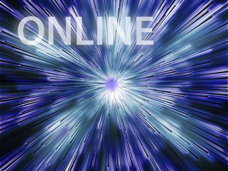 online internet presence: Online illustration, showing information transfer and flow Stock Photo