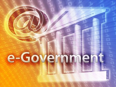 prominence: Electronic government illustrated by building and data Stock Photo