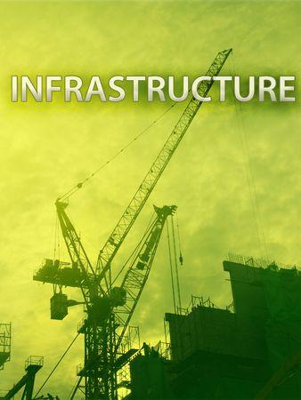 Digital collage illustration of construction industry equipment Stock fotó